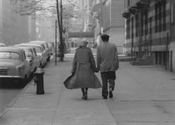Couple walking Park Avenue, New York, 1960
